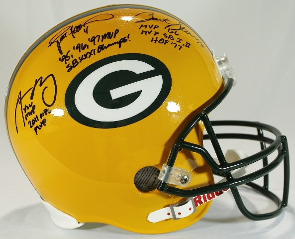 buy online 124c4 340ca Aaron Rodgers Brett Favre Bart Starr NFL Packers FS Helmet Inscriptions